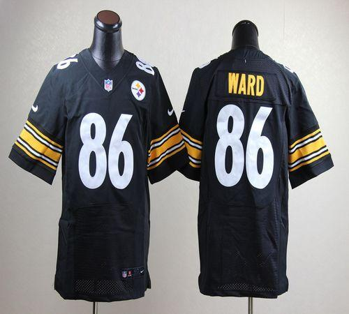 26fcb2946bd Nike Steelers #86 Hines Ward Black Team Color Men's Embroidered NFL Elite  Jersey