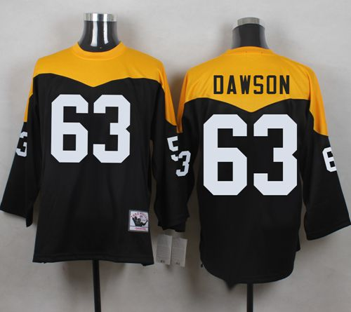 20bd35c06f1 Mitchell And Ness 1967 Steelers  63 Dermontti Dawson Black Yelllow  Throwback Men s Stitched NFL Jersey
