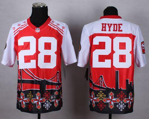 feb0d8672 Nike 49ers  28 Carlos Hyde Red Men s Stitched NFL Elite Noble Fashion Jersey
