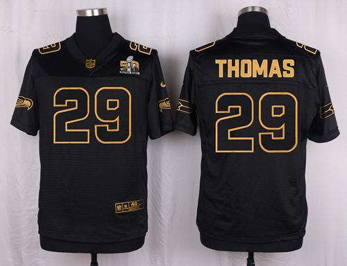896d9b2e5 Nike Seahawks  29 Earl Thomas III Black Men s Stitched NFL Elite Pro Line  Gold Collection Jersey