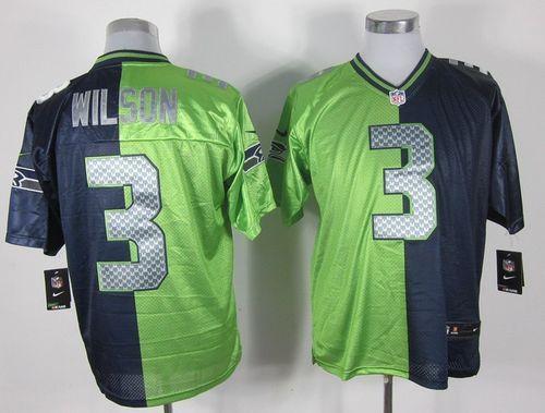 0ae05ade1 Nike Seahawks  3 Russell Wilson Steel Blue Green Men s Embroidered NFL Elite  Split Jersey