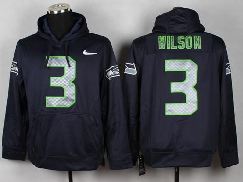 Seattle Seahawks #3 Russell Wilson Blue Pullover NFL Hoodie  for sale