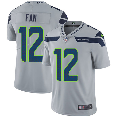 Top Nike Seahawks #12 Fan Grey Alternate Men's Stitched NFL Vapor  free shipping