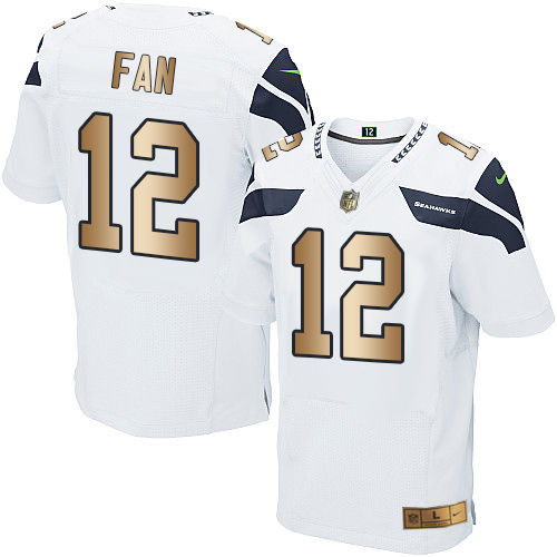 new product 5e801 8db8e Nike Seahawks  12 Fan White Men s Stitched NFL Elite Gold Jersey