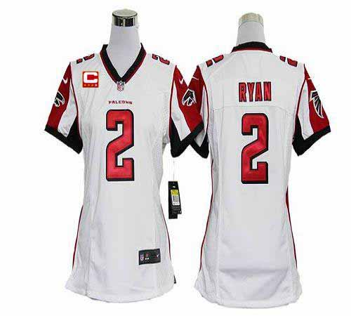 Discount Nike Falcons #2 Matt Ryan White With C Patch Women's Embroidered NFL
