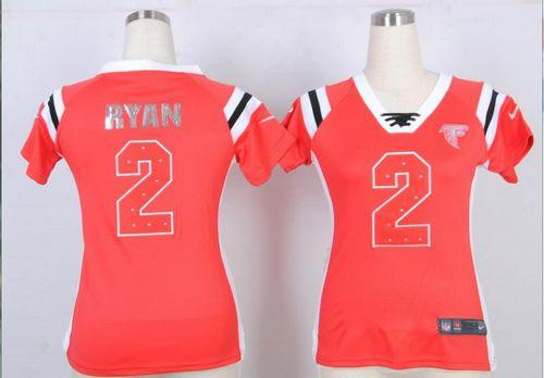 Discount Nike Falcons #2 Matt Ryan Red Team Color Women's Embroidered NFL