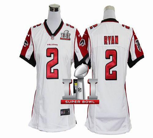 Top Nike Falcons #2 Matt Ryan White Super Bowl LI 51 Women's Stitched