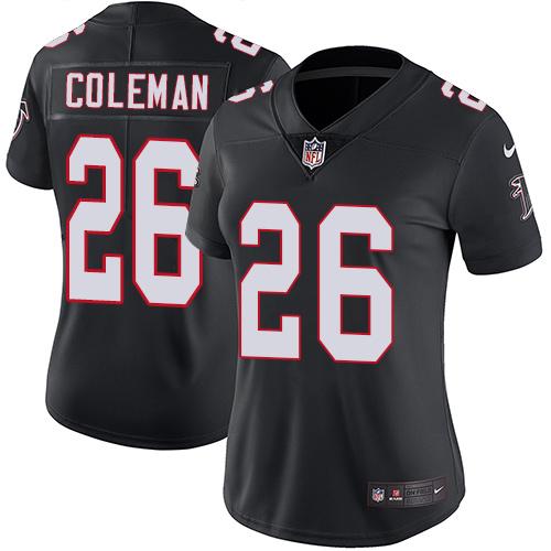 3d241c397cc Nike Falcons  26 Tevin Coleman Black Alternate Women s Stitched NFL Vapor  Untouchable Limited Jersey