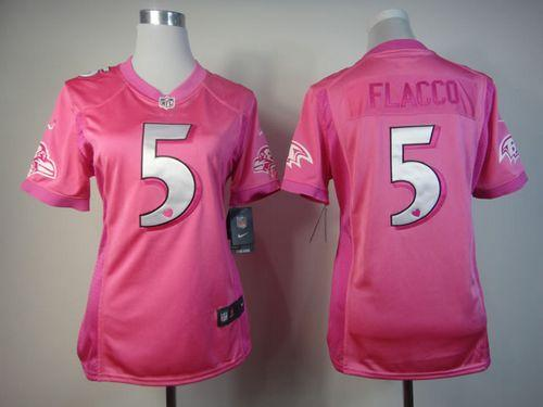Nike Ravens #5 Joe Flacco Pink Women's Be Luv'd Embroidered NFL  supplier