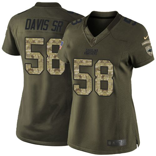 6592a444aaf Nike Panthers  58 Thomas Davis Sr Green Women s Stitched NFL Limited Salute  to Service Jersey