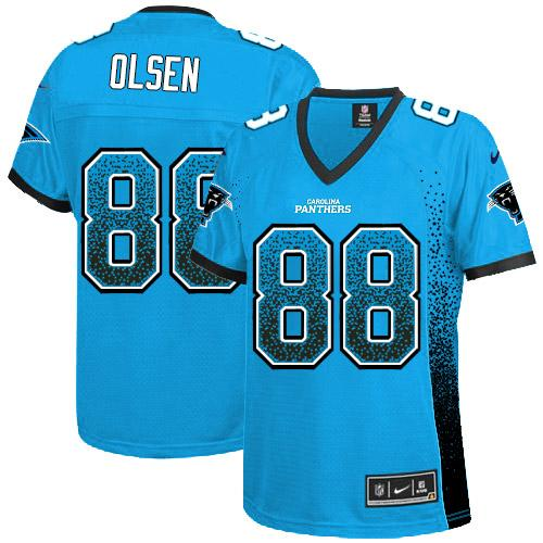 Nike Panthers #88 Greg Olsen Blue Alternate Women's Stitched NFL  free shipping