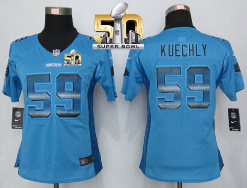 Wholesale Nike Panthers #90 Julius Peppers Blue Women's Stitched NFL Limited  for cheap