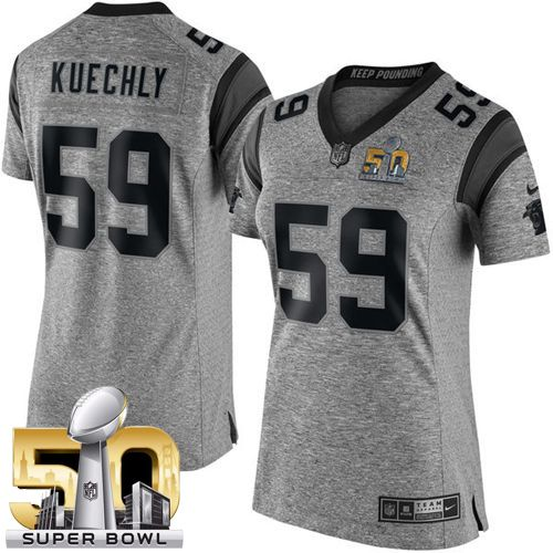Nike Panthers #59 Luke Kuechly Gray Super Bowl 50 Women's Stitched  free shipping