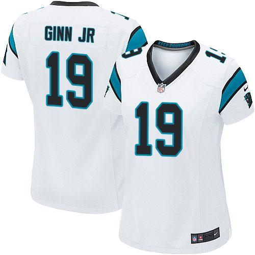 Hot Nike Panthers #19 Ted Ginn Jr White Women's Stitched NFL Elite Jersey  for sale