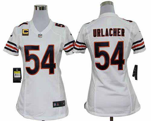 3c3c5b058ec Nike Bears #54 Brian Urlacher White With C Patch Women's Embroidered NFL  Elite Jersey