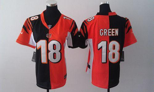 Hot Nike Bengals #18 A.J. Green OrangeBlack Women's Embroidered NFL  supplier