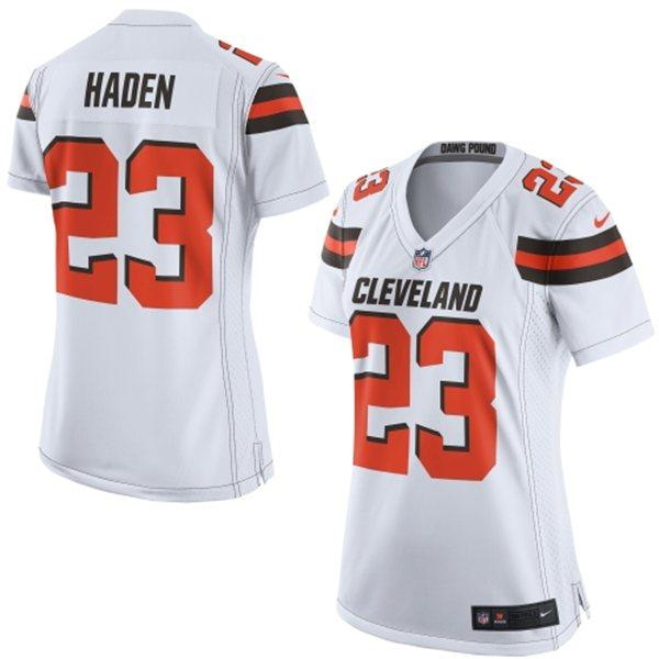 quality design 1ff6d 300c1 Nike Browns #23 Joe Haden White Women's Stitched NFL New ...