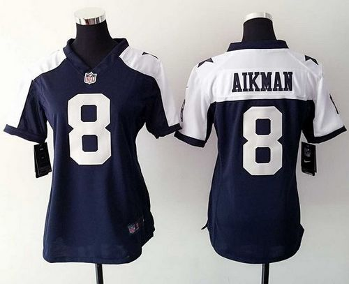 uk availability 0eda9 3b89e Nike Cowboys #8 Troy Aikman Navy Blue Thanksgiving Throwback ...
