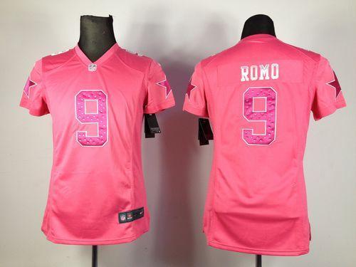 reputable site 1255c 6cf43 Nike Cowboys #9 Tony Romo Pink Sweetheart Women's ...