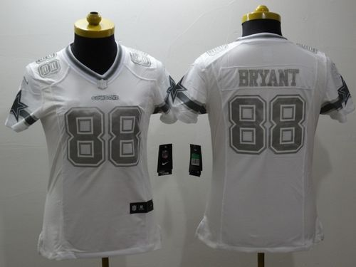 aa47a9a7e Nike Cowboys  88 Dez Bryant White Women s Stitched NFL Limited Platinum  Jersey