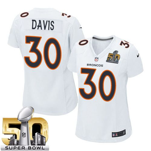 Nice Nike Broncos #30 Terrell Davis White Super Bowl 50 Women's Stitched  for cheap
