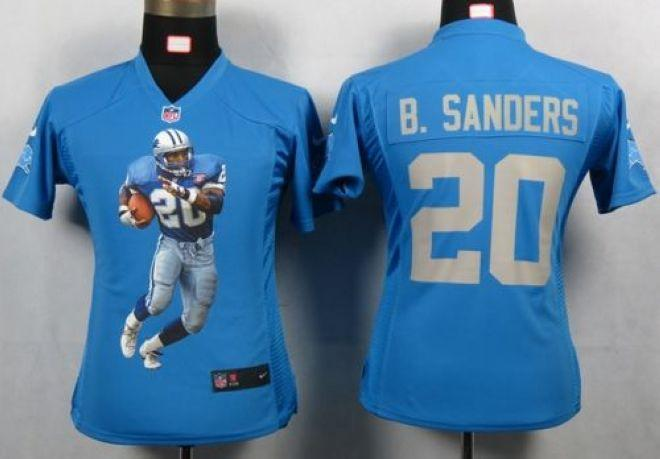 Nike Lions  20 Barry Sanders Light Blue Team Color Women s Portrait Fashion  NFL Game Jersey d5a6128f7