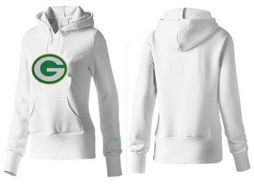 Discount Women's Green Bay Packers Logo Pullover Hoodie White