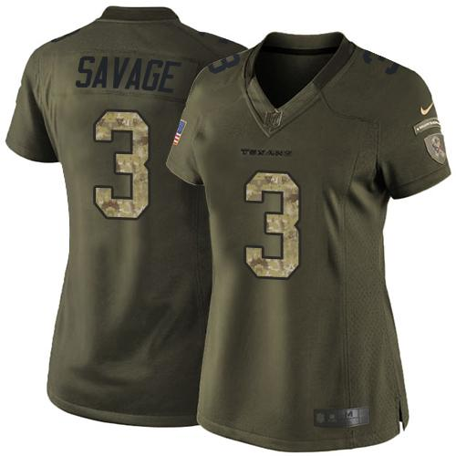 Nike Texans  3 Tom Savage Green Women s Stitched NFL Limited Salute to  Service Jersey 3f18969fe