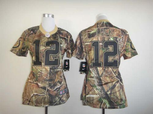 Nike Colts  12 Andrew Luck Camo Women s Embroidered NFL Realtree Elite  Jersey 22b85835e