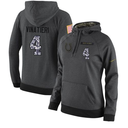 909b565550b NFL Women's Nike Indianapolis Colts #4 Adam Vinatieri Stitched Black  Anthracite Salute to Service Player Performance Hoodie