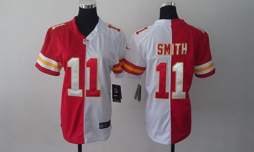 Nike Chiefs  11 Alex Smith Red White Women s Embroidered NFL Elite Split  Jersey c6420d0a8