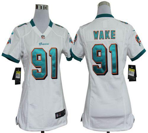 New Nike Dolphins #91 Cameron Wake White Women's Embroidered NFL Elite  hot sale
