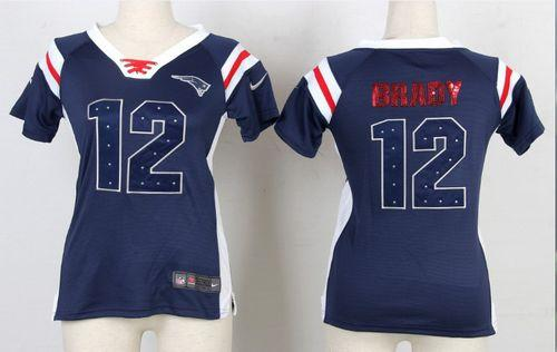 new concept 33bba 849aa Nike Patriots #12 Tom Brady Navy Blue Women's Embroidered ...