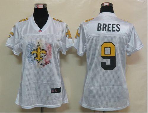 Wholesale Nike Saints #9 Drew Brees White Women's Fem Fan NFL Game Jersey  hot sale