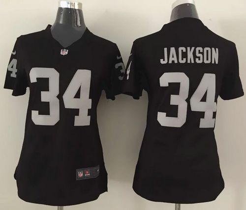 Discount Nike Raiders #34 Bo Jackson Black Team Color Women's Stitched NFL  free shipping