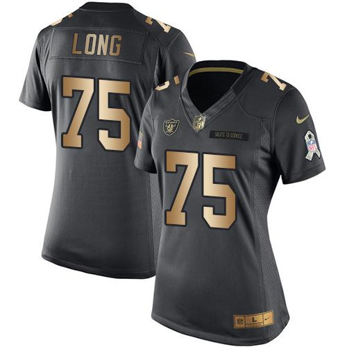 c9063b55d Nike Raiders  75 Howie Long Black Women s Stitched NFL Limited Gold Salute  to Service Jersey