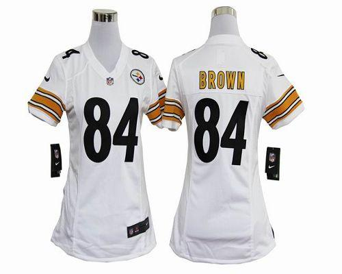 206904fdafb Nike Steelers  84 Antonio Brown White Women s Embroidered NFL Elite Jersey