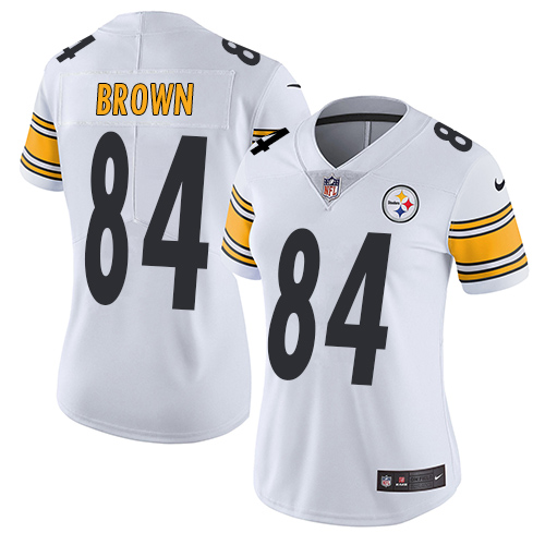 buy online 59514 1e1e0 Nike Steelers #84 Antonio Brown White Women's Stitched NFL ...