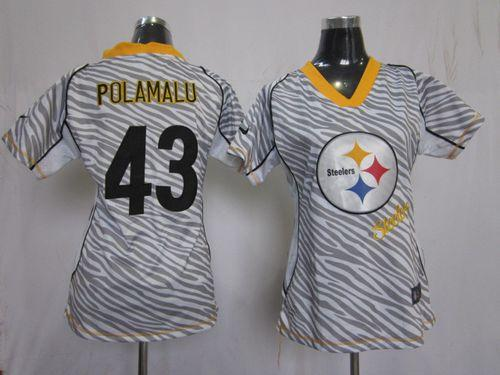 Nike Steelers  43 Troy Polamalu Zebra Women s Embroidered NFL Elite Jersey e9c2cf659