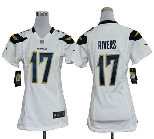 Wholesale Nike Chargers #17 Philip Rivers White Women's Embroidered NFL Elite  hot sale