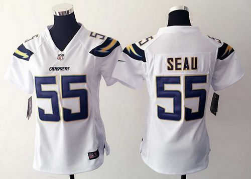buy popular d165b 2e6ff Nike Chargers #55 Junior Seau White Women's Stitched NFL ...