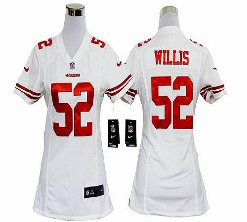 Discount Nike 49ers #52 Patrick Willis White Women's Embroidered NFL Elite Jersey  supplier