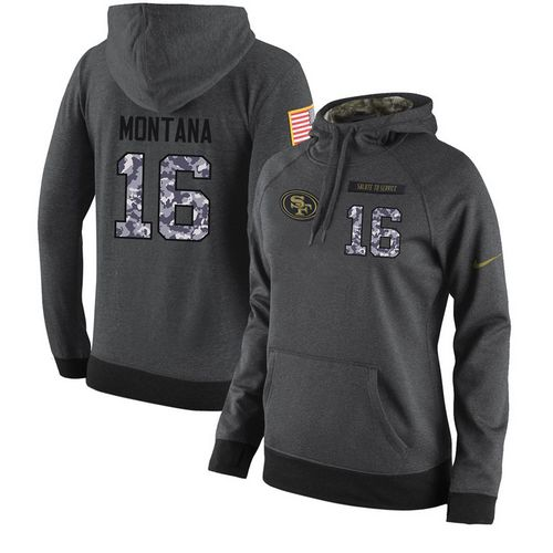 cfb943ab4d4 NFL Women s Nike San Francisco 49ers  16 Joe Montana Stitched Black  Anthracite Salute to Service Player Performance Hoodie