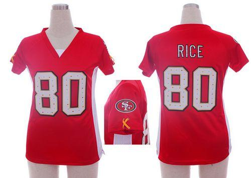 Nice Nike 49ers #80 Jerry Rice Red Team Color Draft Him Name & Number Top