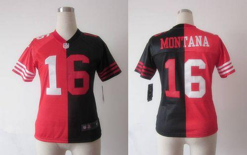 detailed pictures 9494b 606a1 Nike 49ers #16 Joe Montana Black/Red Women's Embroidered NFL ...