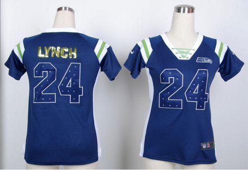 Cheap Nike Seahawks #24 Marshawn Lynch Steel Blue Women's Embroidered NFL