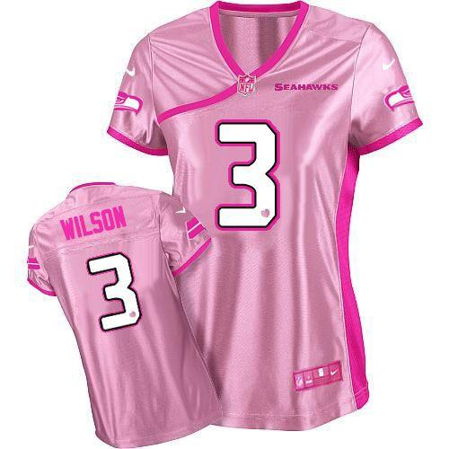 premium selection 77434 23819 Nike Seahawks #3 Russell Wilson Pink Women's Be Luv'd ...