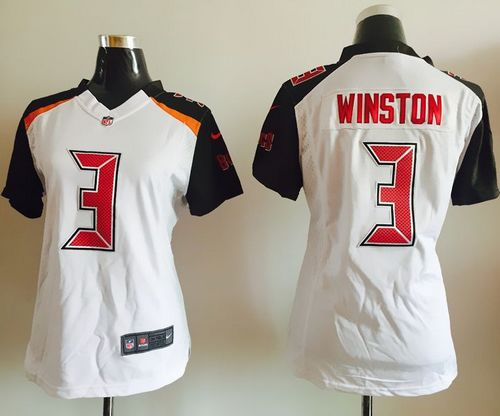 81c84a949 Nike Buccaneers  3 Jameis Winston White Women s Stitched NFL New Elite  Jersey