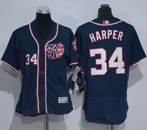 sports shoes 7b624 379f6 Nationals #34 Bryce Harper Navy Blue Flexbase Authentic ...