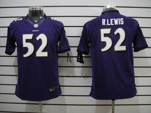 Hot Nike Ravens #52 Ray Lewis Purple Team Color Youth Embroidered NFL  free shipping